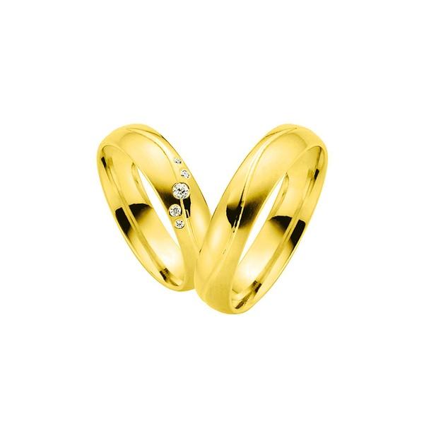 Par de Alianças de Casamento Manchester em Ouro 18k Com Diamantes