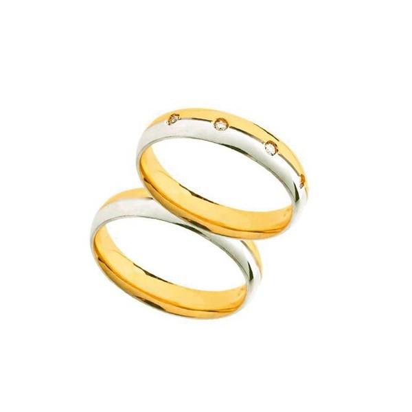 Par de Alianças de Bodas Bolonha em Ouro Bicolor 18k