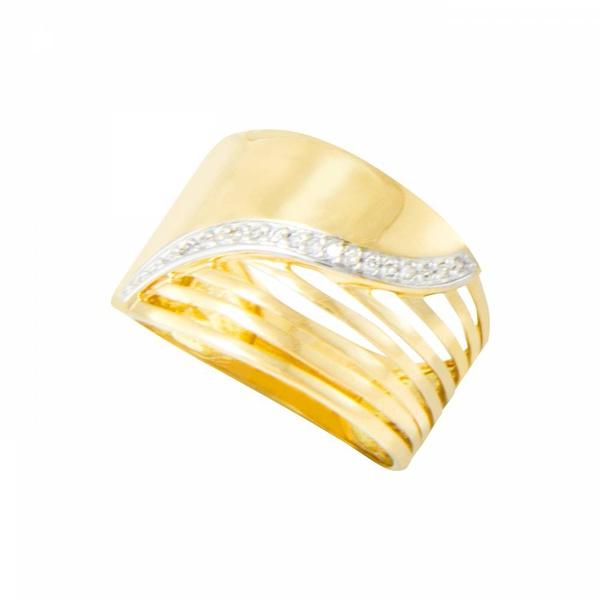 Anel Feminino em Ouro 18k com Diamantes