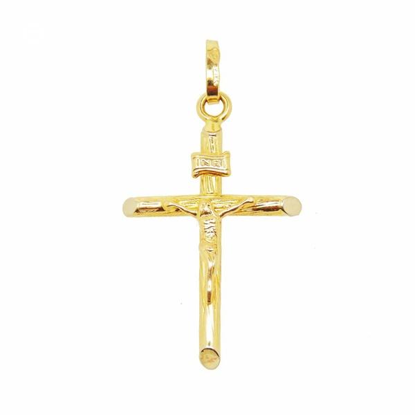 Pingente Crucifixo Tipo M em Ouro 18k
