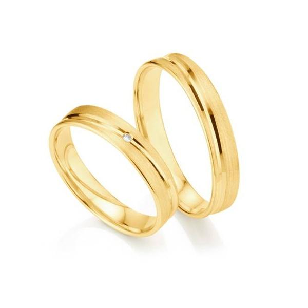 Par de Alianças de Casamento Londres em Ouro 18k com Diamante