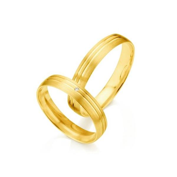 Par de Alianças de Casamento Madrid em Ouro 18k Com Diamante