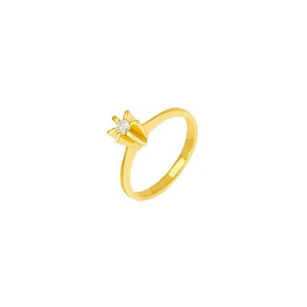 Anel Solitário Estrela em Ouro 18k e Diamante de 10 pontos