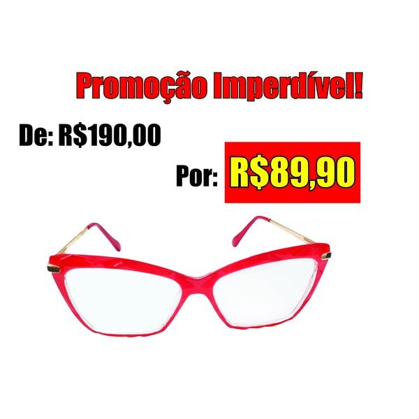 Óculos de grau em Vermelho com detalhes em alto relevo na armação