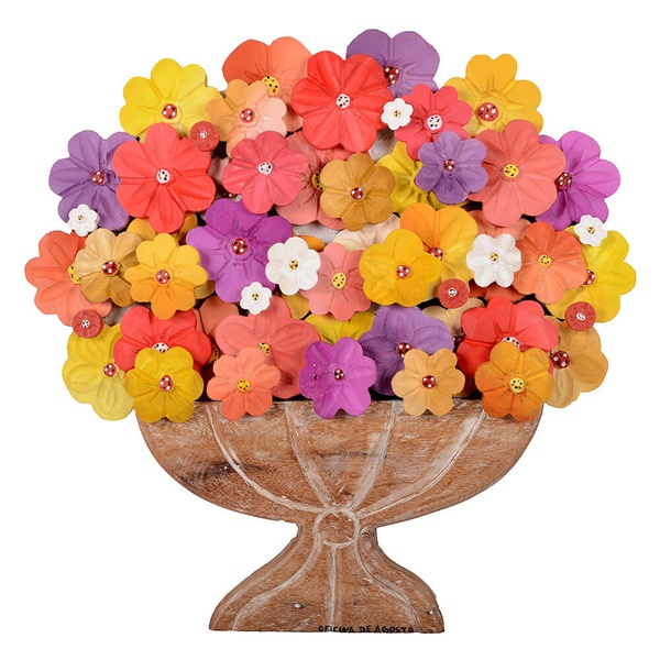 Painel Médio de Ânfora Larga com Flores Coloridas