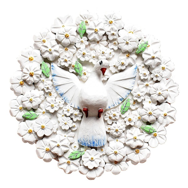 Divino Espírito Santo Mandala com Esculturas de Flores Brancas 0,60 M.
