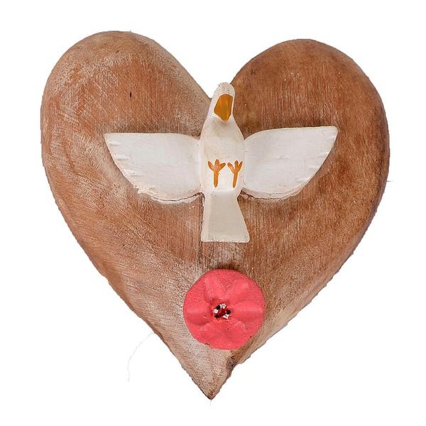 Coração com Divino e Flor em Madeira Natural