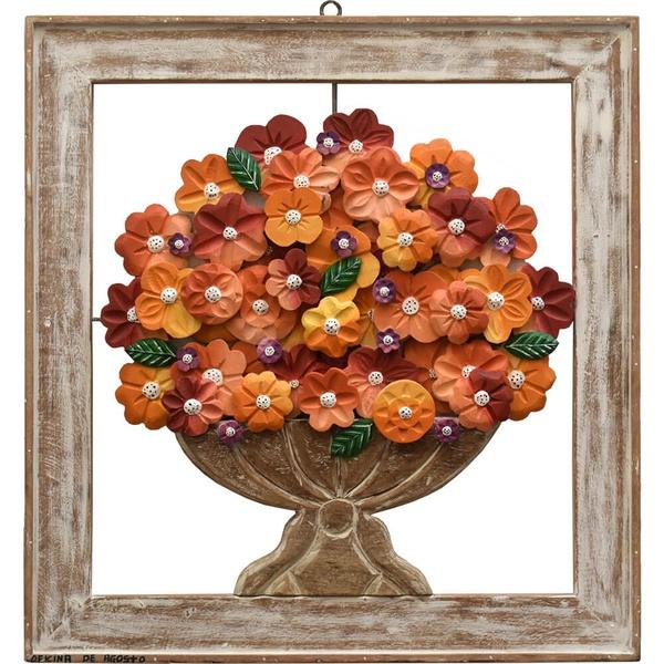 Quadro Vazado de Ânfora - Flores Coloridas