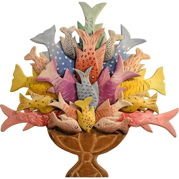 Painel Ânfora Pequena de Peixes - tons claros
