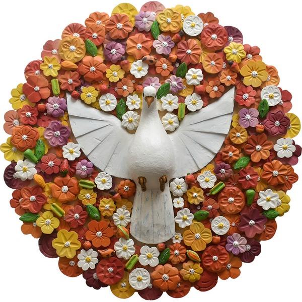 Mandala Divino Espírito Santo com Flores Coloridas
