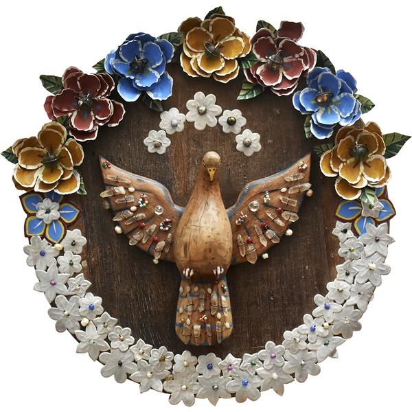 Divino Espírito Santo Mandala - Flores Metal Berlindes e Cristais