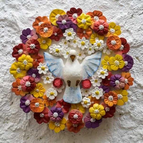 Divino Espírito Santo Mandala com Esculturas de Flores Coloridas II 0,40 M