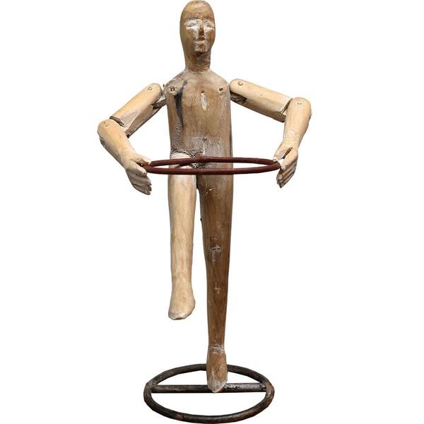 Escultura Boneco Ginasta Madeira Natural - Coleção Ginastas