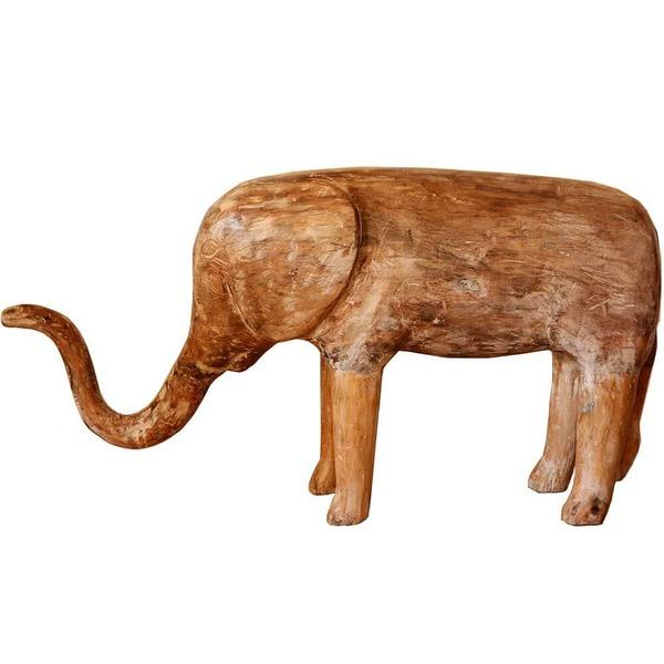 Escultura de Elefante em Madeira