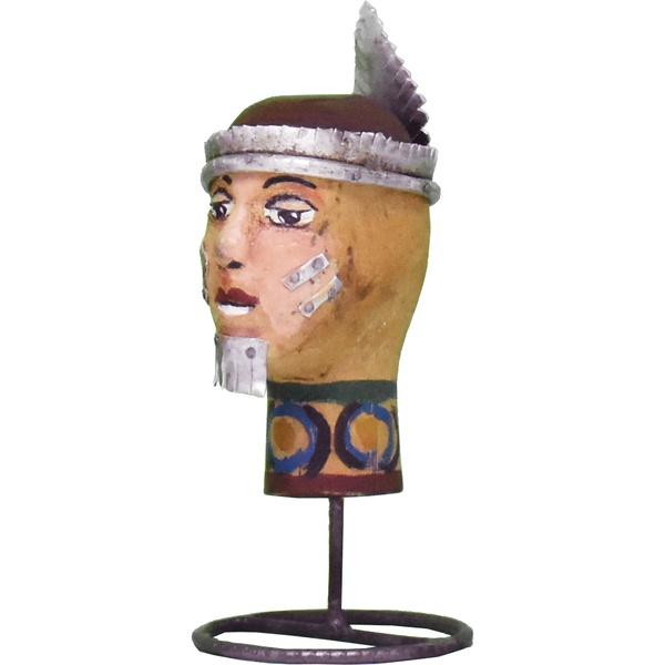Escultura de Cabeça Mini Índio 3_Coleção Toti