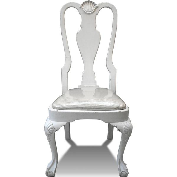 Cadeira Branca com Assento Estofado e Encosto Alto