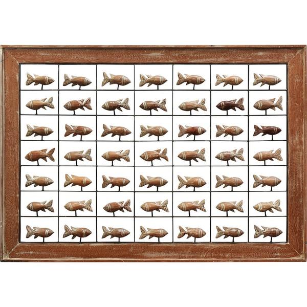 Painel Grade de Peixes com 49 pçs. - Madeira Natural