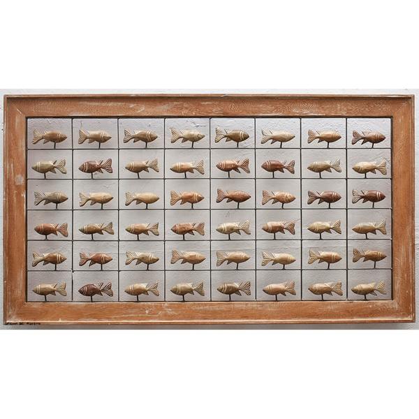 Painel Grade de Peixes com 48 pçs. - Madeira Natural