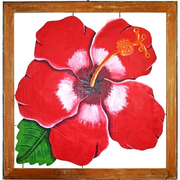 Quadro Vazado Grande de Hibisco Vermelho II