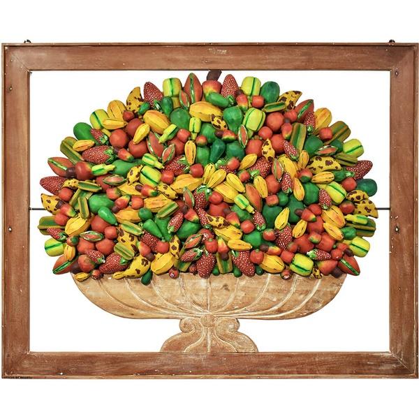 Quadro Vazado de Ânfora de Frutas Variadas- Grande