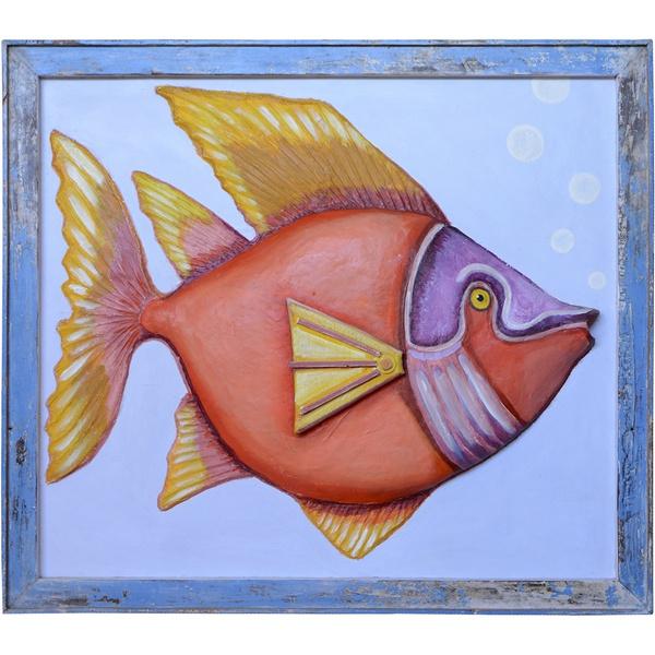 Quadro de Peixe III - Papel Machê