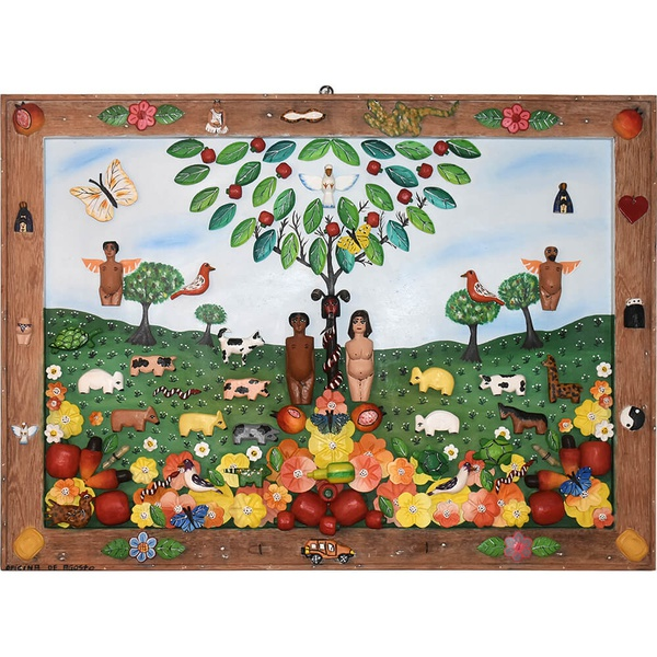 Quadro Médio Adão e Eva com Esculturas