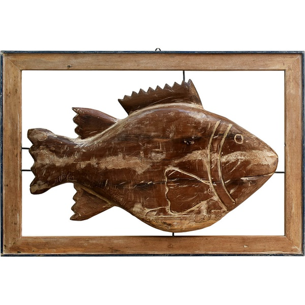 Painel Escultura de Peixe Madeira Natural Copia