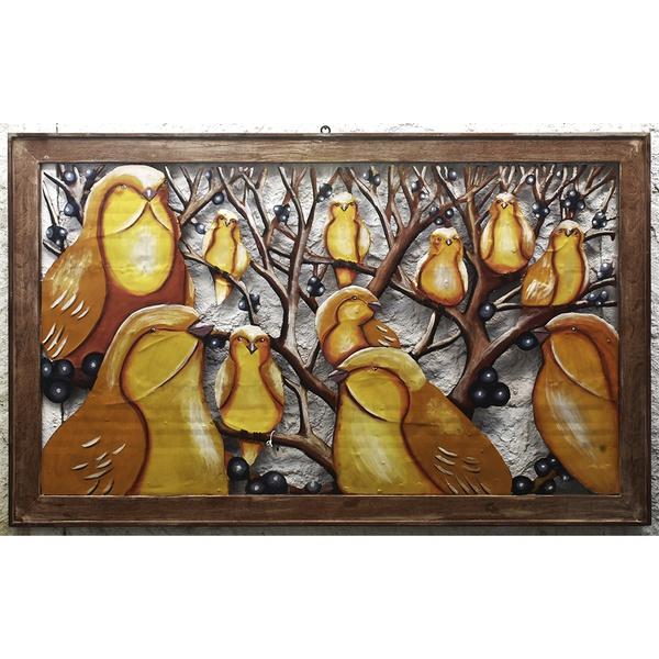 Quadro Vazado Grande de Pássaros Amarelos