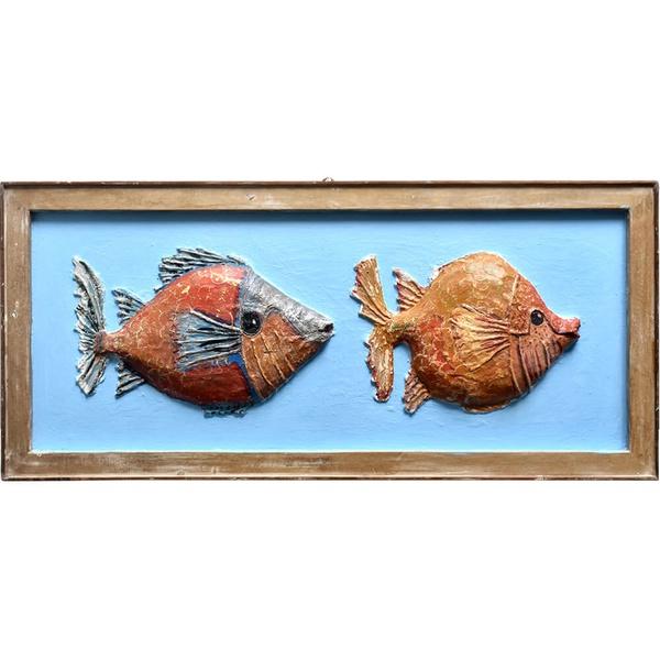Quadro de Peixe Duplo - Papel Machê