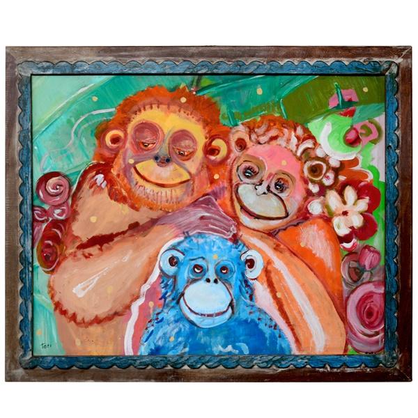 Tela Macacos Moldura Madeira - Toti