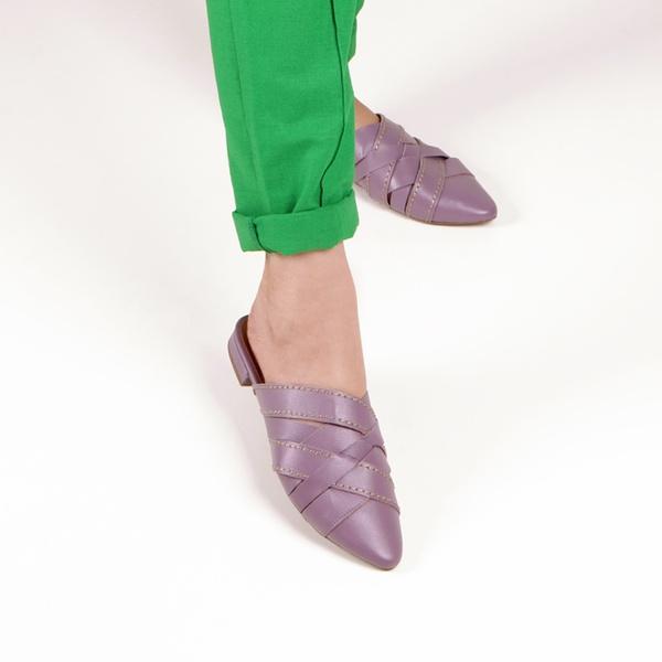 Mule Flat Comfort Pietra Lavanda | Crossed Strips Salto 1,5 cm