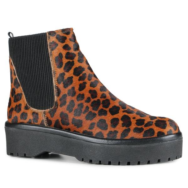 Chelsea Boots Fridda Elástico Lateral Pelo Onça Em Couro