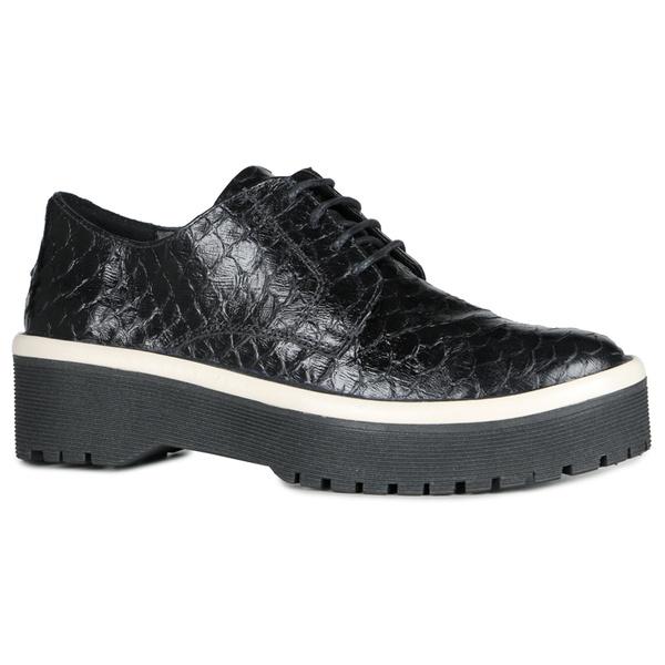 Sapato Oxford Fridda Cobra Preta Em Couro