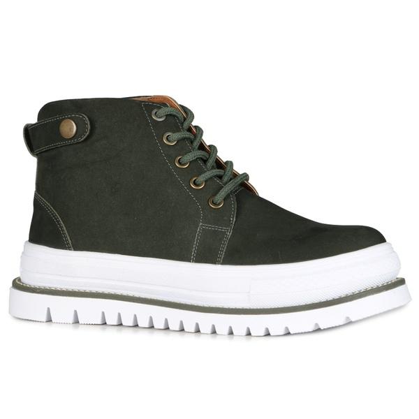 Tênis Boots Zoe Botão Pressão Verde Militar Em Couro