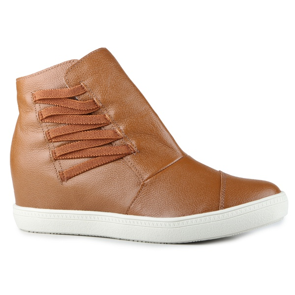 Tênis Siena Sneakers Elástico Lateral Cuoio Em Couro
