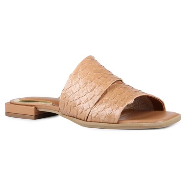 Sandália Rasteira Margot Tiras Assimétricas Terracota Salto 2 cm