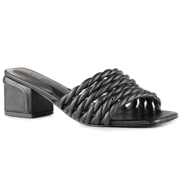 Sandália Sophie Tamanco Corda Em Couro Preta Salto 5,5 cm