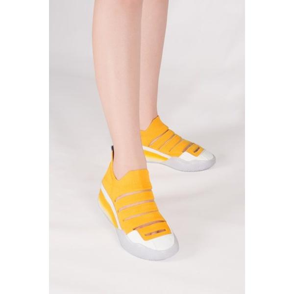 Slip On Paola Em Knit Amarelo Salto 4 cm