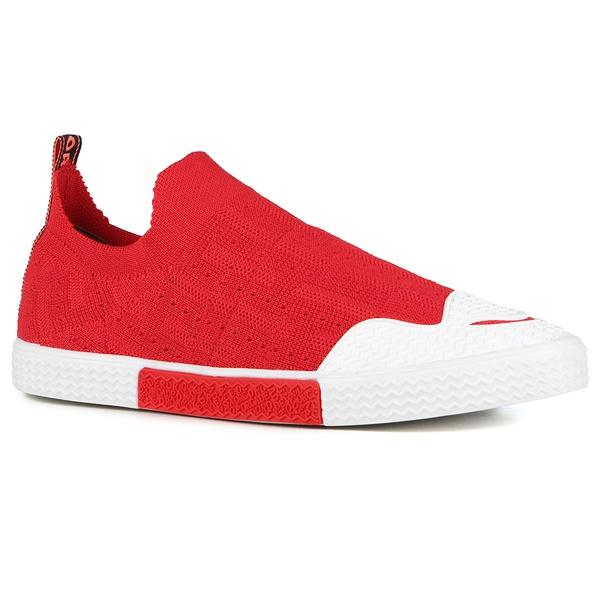 Tênis Fiorella Em Knit Vermelho Em Tricô
