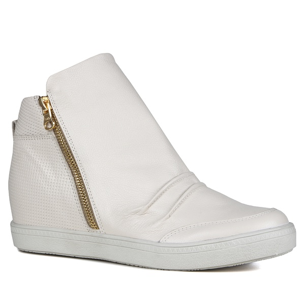 Tênis Siena Sneakers Osso Detalhe Furinhos e Zíperes Lateral Salto 4,5 Cm