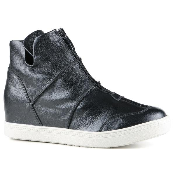 Tênis Siena Sneakers Zíper e Costura Grossa Na Lateral Preto Em Couro