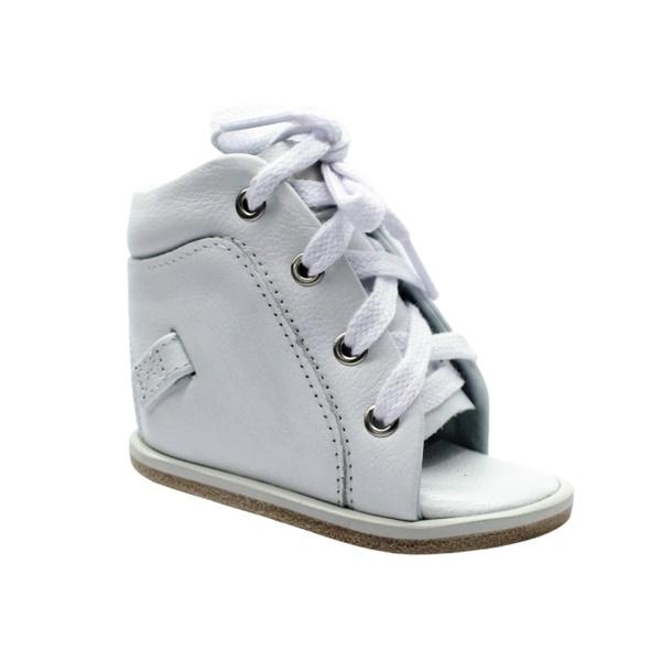 Dennis Brown sapatilha em couro branco com barra de regulagem