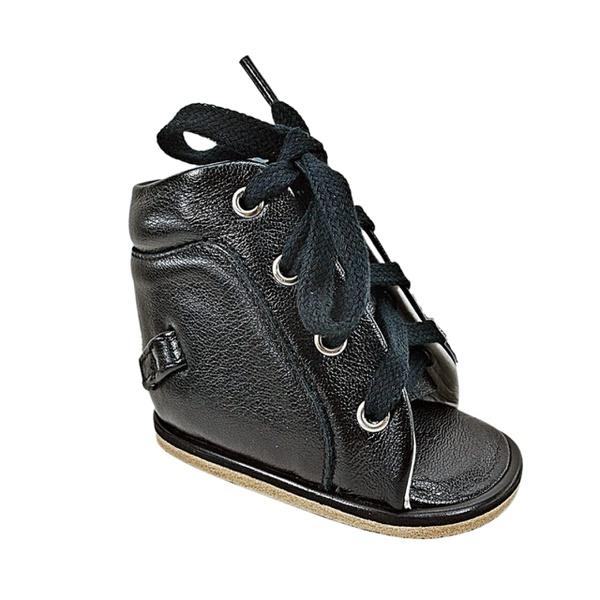 Dennis Brown sapatilha em couro preto com barra de regulagem