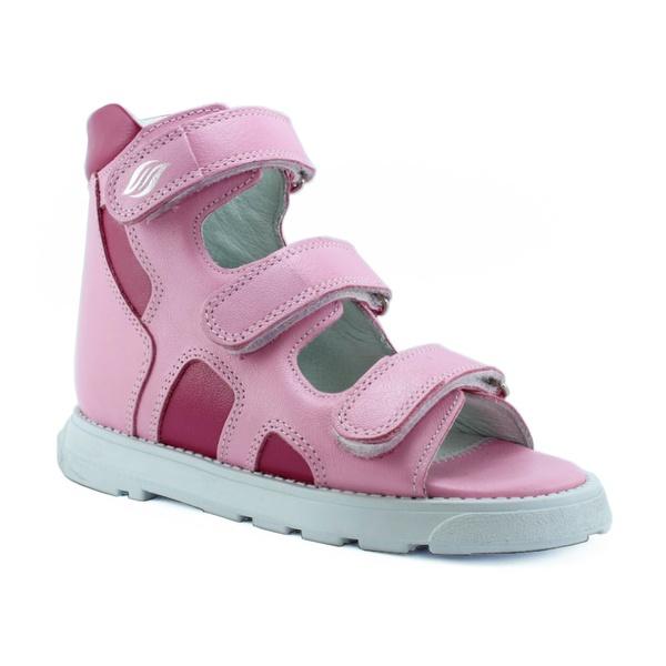 Sandália cano alto 3 velcros em couro rosa bebê e pink