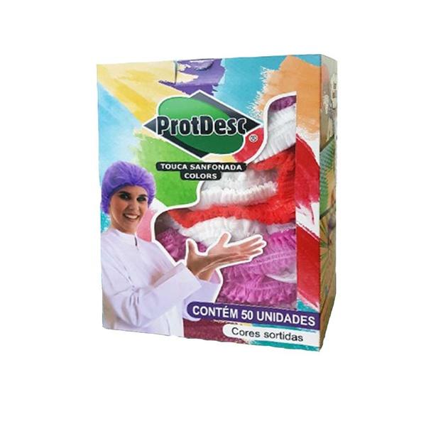 Touca Descartável Sanfonada Color Cores Sortidas ProtDesc c/ 50un.