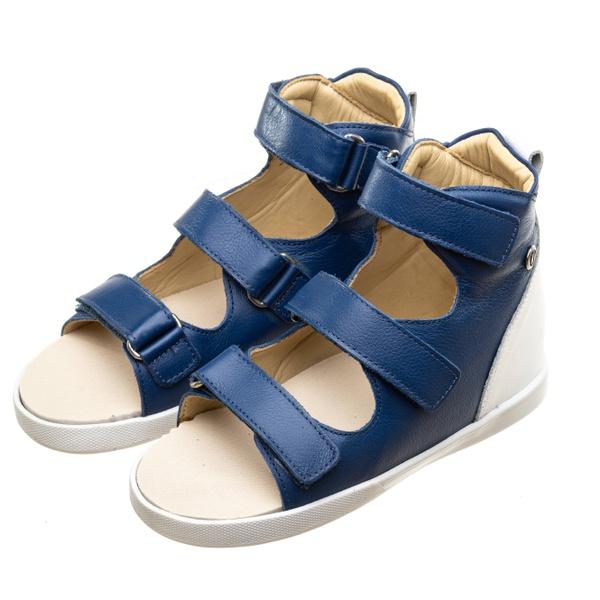 Sandália Playpé Couro - Azul com Branco