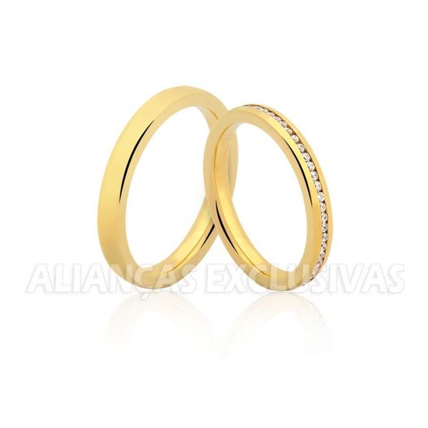 Aliança Fina com Pedras Ouro 18k