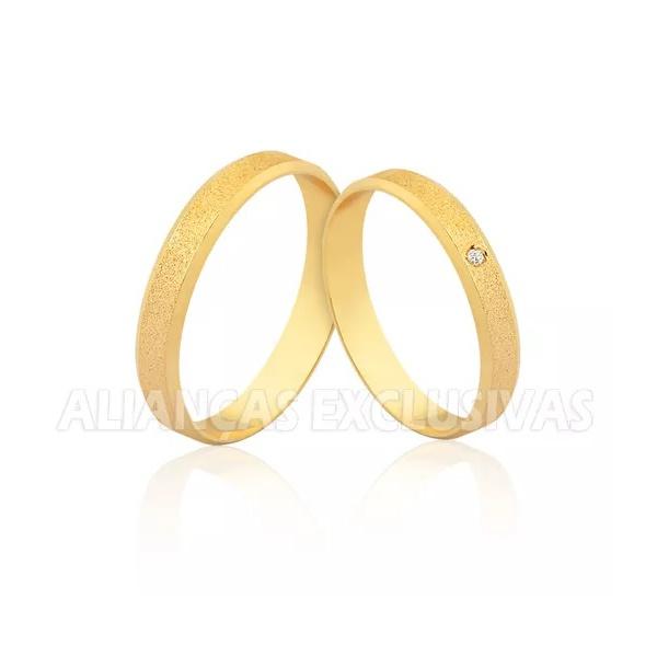 Aliança Fina de Casamento Diamantada