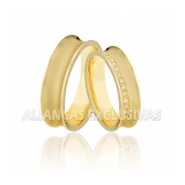 Alianças de Noivado e Casamento em Ouro 18k Anatômicas