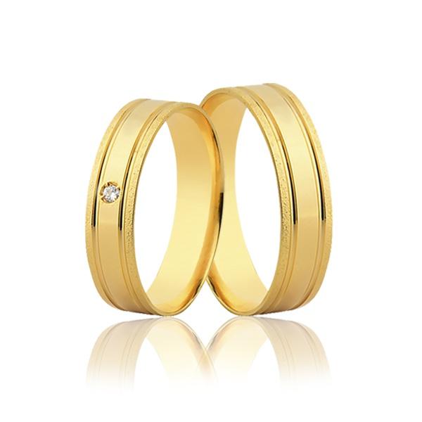 Par de Aliança Reta Diamantada com Diamante em Ouro 18k